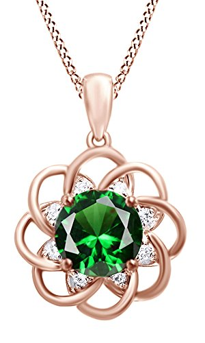 4.5 Ct Rose (4.5 Ct Simulated Green Emerald Flower Pendant Necklace 14k Rose Gold Over Sterling Silver)