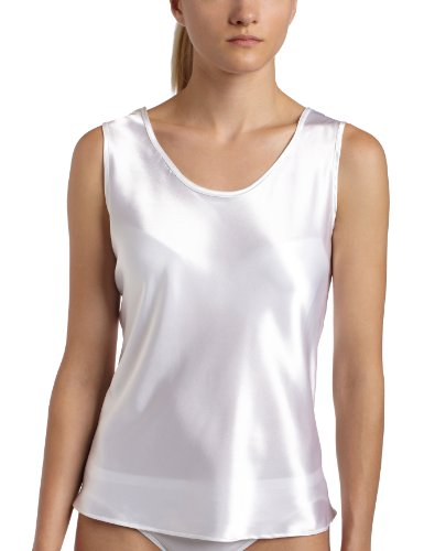 Women's Satin Charmeuse Tailored Tanktop camisole, White, Large
