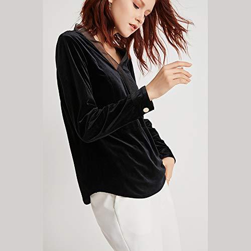 shirt Spring Scollo A Julia s Wild Manica Base T Fashion Donna Lunga Temperamento V Shirt Gold velluto Y6dBdw