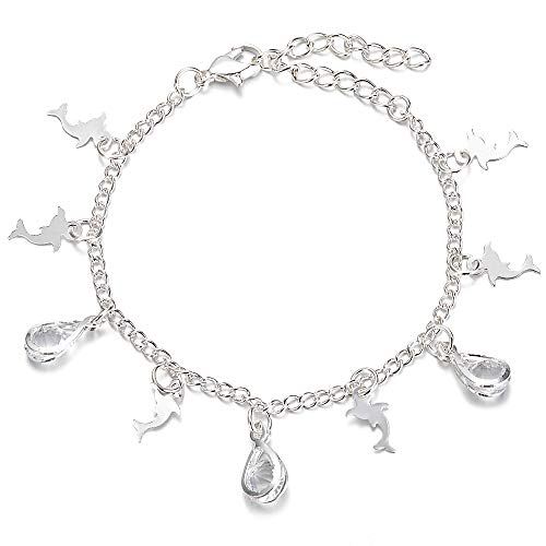 Yves Renaud 0.3 Inch Silver Tone Water Drop Crystal Beads with Dolphin Charm 6.5