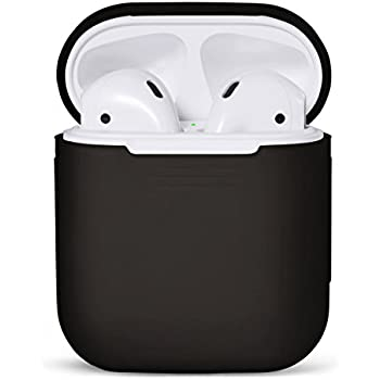PodSkinz AirPods Case Protective Silicone Cover and Skin for Apple Airpods Charging Case (Black)