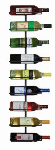Wall-Mounted Wine Rack, 9-Bottle Capacity, Black