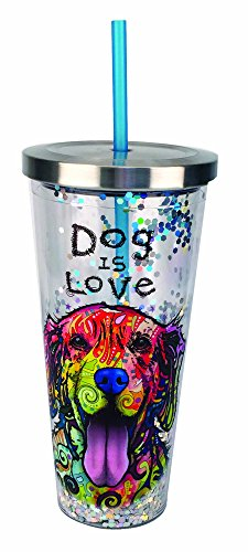 Spoontiques 21306 Dog Is Love Glitter Cup With Straw, Multicolor