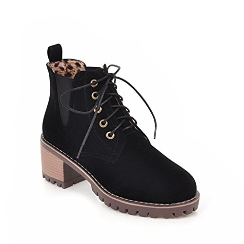Marrón De Encaje Boots Fiesta Mujes Redonda uk 35 3 Invierno Nvxie Scrub Trabajo Martin Cabeza Otoño Rough Heel Eur38uk55 Eur Negro Etv6wqx6