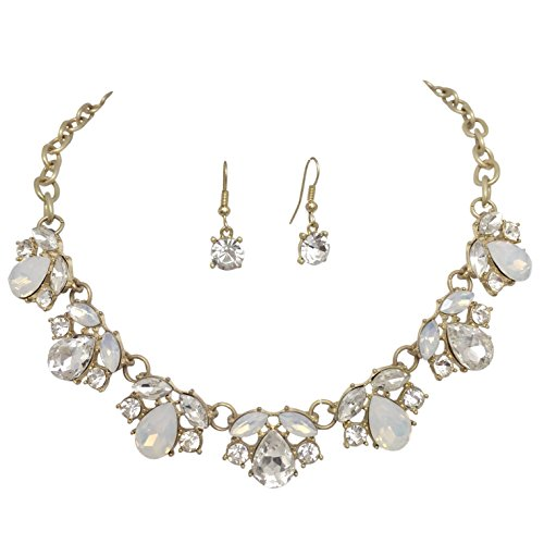 Gypsy Jewels Fancy Rhinestone Bling Matte Gold Tone Boutique Bib Bubble Necklace Earrings Set Boho (Clear With Milky Stone) from Gypsy Jewels