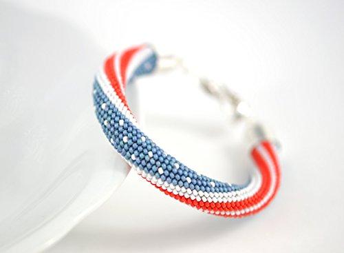 Patriotic Beaded Bracelet (Beaded Bracelet USA Flag Patriotic 4th Of July - Bead Crochet Bracelet - White Blue Red Multi-Colored Minimalist Beadwork Jewelry Unisex)