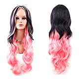 Cosplay Wig, Women Fancy Long Curly Full Head Gradient Hair Wigs Cosplay Halloween Costume Party (Pink)