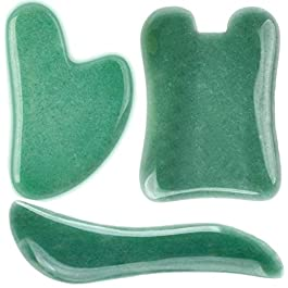 PinCute 3 Pack Jade Gua Sha Scraping Massage Tool, Natural Jade Guasha Board, Great Handmade Tools for SPA Acupuncture…