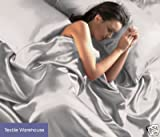Silver Satin King Size Duvet Cover & Fitted Sheet Set