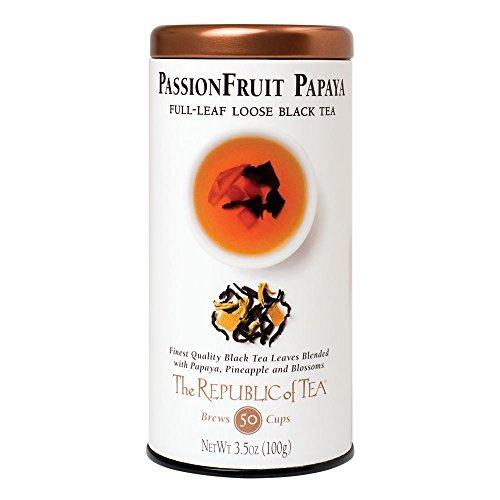 The Republic of Tea Passionfruit Papaya Black Full-Leaf Tea, 3.5 Ounces / 50-60 Cups