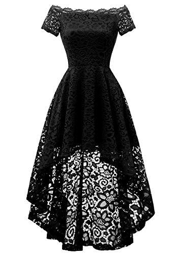 Dressystar 0042 Lace Off Shoulder Hi-Lo Short Sleeve Formal Cocktail Dress Black XS Black Stretch Lace Dress