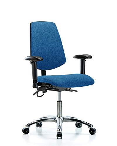 LabTech Seating LT41004 ESD Fabric Desk Height Chair Medium Back Chrome Base, Tilt, Arms, ESD Casters Blue