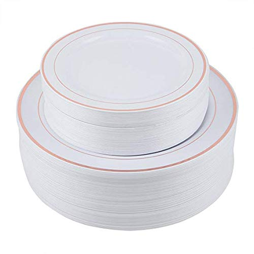 PURUDA 300 PCS / 150 GUEST Rose Gold Plates for Wedding, Plates Disposable, Wedding Dinnerware Sets, Disposable Plastic Tableware, Plastic Party Plates, Wedding Plates 150 Dinner and 150 Salad Plates