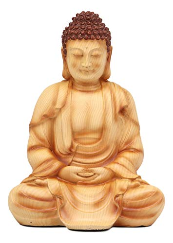 Ebros Eastern Enlightenment Meditating Buddha Gautama Amitabha in Dhyana Mudra Pose Statue in Rustic Faux Wood Resin Finish for Home Altar Zen Feng Shui Decoration Housewarming Decor Sculpture