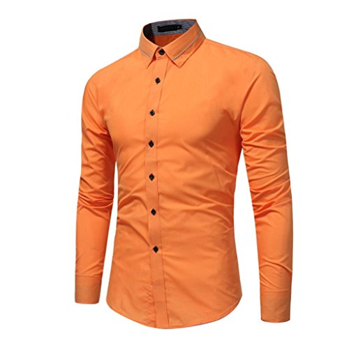Men's Slim Fit Business Casual Cotton Oxford Long Sleeves Solid Button Down Dress Shirts (Orange, XL)