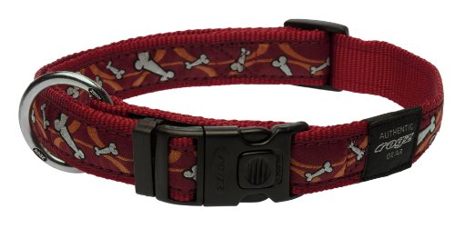 Rogz Fancy Dress Extra Large 1-Inch Armed Response Dog Collar, Bones on Red Design