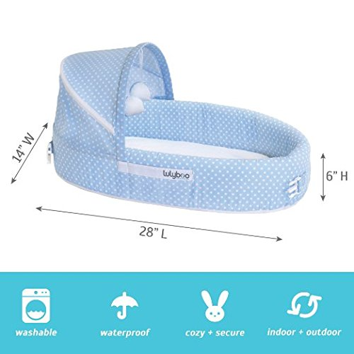 With Canopy Toy-Bar And Plush Toys Foldable Travel Bassinet LulyBoo Baby Lounger To Go Blue