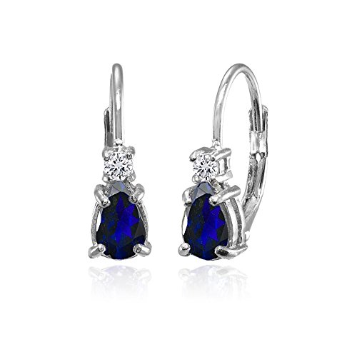 Sterling Silver Created Blue Sapphire and White Topaz Tiny Teardrop Huggie Leverback Earrings for Girls ()