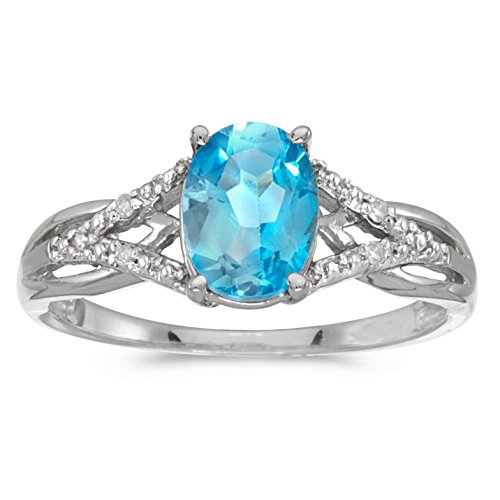 10k White Gold Oval Blue Topaz And Diamond Ring (Size 7.5) Blue Topaz & Diamond Oval Ring