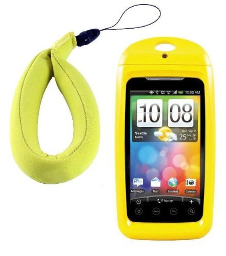 New Wave III/Tide Waterproof Smartphone Case with FREE Floating Wrist Lanyard ($12.95 Value) and Free Neck Lanyard for HTC, Motorola, Some Samsungs & Larger Smartphones - Yellow (Fits Phones Measuring Up to 4.88 x 2.7 x .55 Inches)