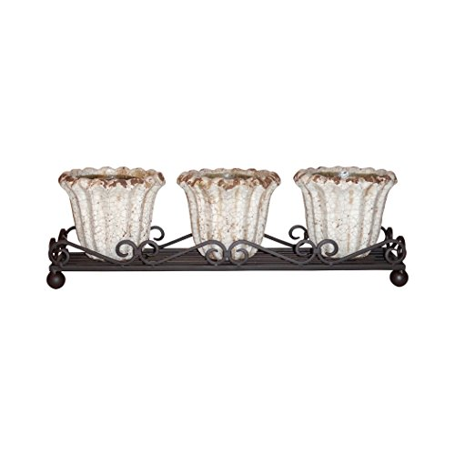 - Traditional Décor Collection Jardin Wavy Triple Planter