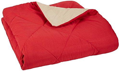 AmazonBasics Reversible Microfiber Comforter - Full/Queen, Red Red Queen Comforter