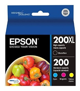 Genuine Epson 200xl High Yield Ink Cartridges One-set (Black Cyan Magenta Yellow )