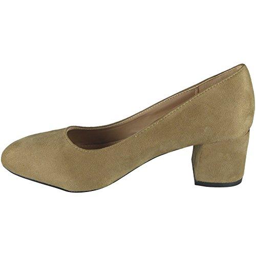 sintética Zapatos de oficina Chunky Low 3 8 Trabajo casual de Heel Caqui de Damas gamuza corte EgUqSwxqF