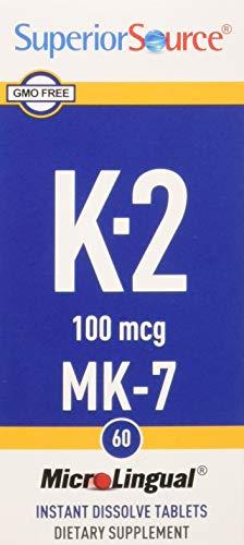 Superior Source Vitamin K2-MK7, 100 mcg, 60 Count (Best Food Sources Of Vitamin K)