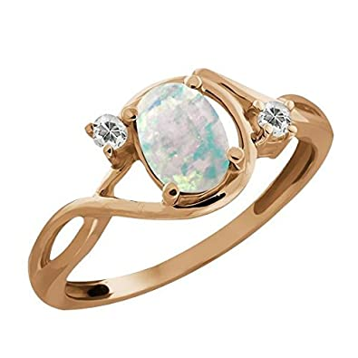 0.68 Ct Oval Cabochon White Simulated Opal and Topaz Gold Plated 925 Silver Ring