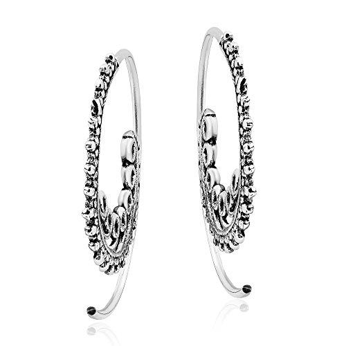 Ethnic Waves .925 Sterling Silver Spiral Slide Pierce Hoop Earrings