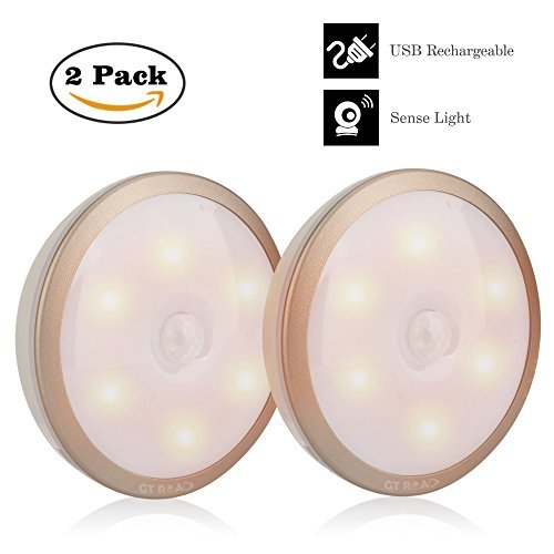 Led Night Light, GT ROAD 2 Pack Rechargeable Motion Sensor Night light for Closet Stairwells Bedroom Nursery (Gold) (Gold)