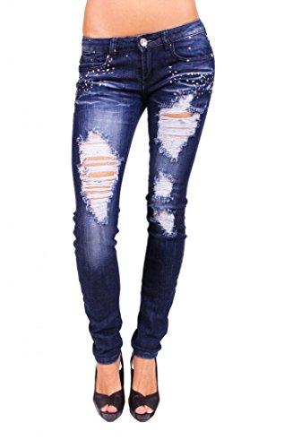 Machine Jeans Women Distressed Skinny Jeans with Petal Studs 3 Dark Denim