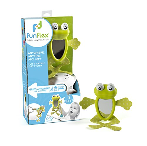 Award Winning 3 Piece Infant Frog Mirror Activity Set: Can Be Used with Baby Stroller, Carrier, High Chair, Crib, or Car Seat