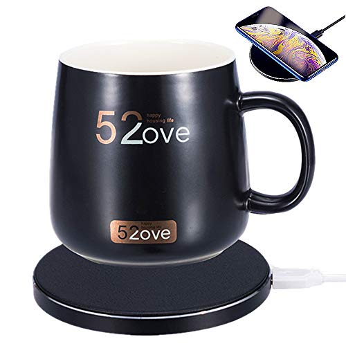 Bemagnificar 2 in 1 Wireless Heating Mug Warmer Charger,Support All Devices Enables Qi Standard Intelligent Constant Temperature about 122 50 for Home Office Black