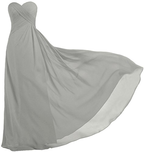 ANTS Women's Strapless Long Bridesmaid Dresses Chiffon Wedding Prom Gown Size 12 US Silver
