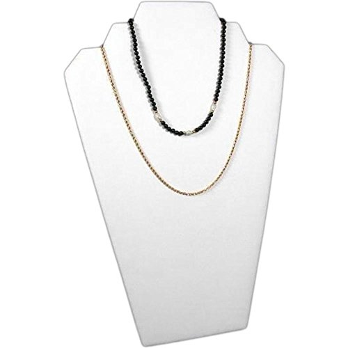 White Faux Leather Padded Necklace - FindingKing White Leather Padded 2 Tier