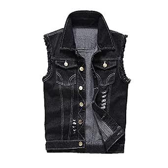 Elonglin Men Denim Vest Waistcoat Sleeveless Jeans Jackets Casual Ripped Vintage Cowboy Slim Fit Outwear Gilets Black 4XL
