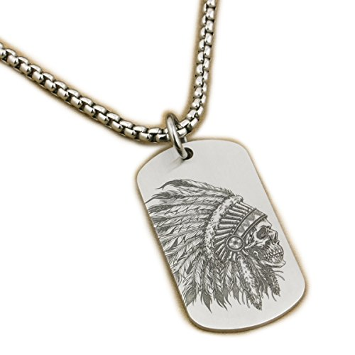 LINSION Native American Inidian Cheif Necklace Dogtag Pendant 316L Stainless