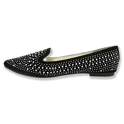 Olivia Miller Mujeres Anabelle Over Shimmer Shine Rhinestones Pointy Toe Ballet Flats Negro