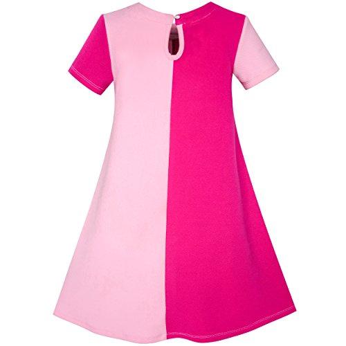 Les Filles Ensoleillées De La Mode Robe Contraste Couleur Coeur D'une Ligne De Taille Robe D'été 5-12 Ans Rose