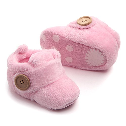 cinnamou Schöne Kleinkind erste Wanderer - Baby Snow Button Stiefel - Runde Zehe Wohnungen weiche Hausschuhe Schuhe Rosa