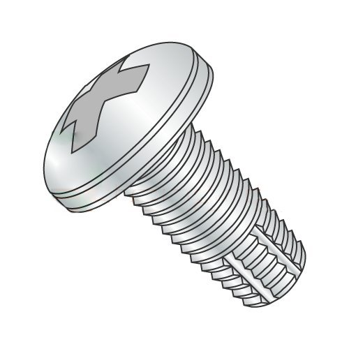 #10-24 x 1 Thread Cutting Screws, Type F, Pan Head, Phillips Drive, Steel, Zinc Plating, Full Thread (Quantity: 100 pcs) by Newport Fasteners