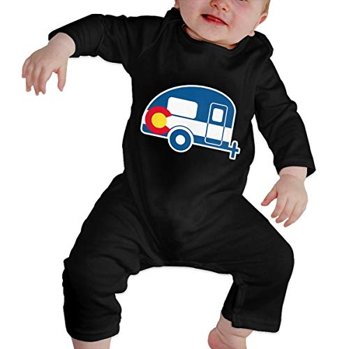Reppusily Infant Boys and Girls Romper Colorado Flag Camper Printing Long Sleeve Bodysuit 12M Black -