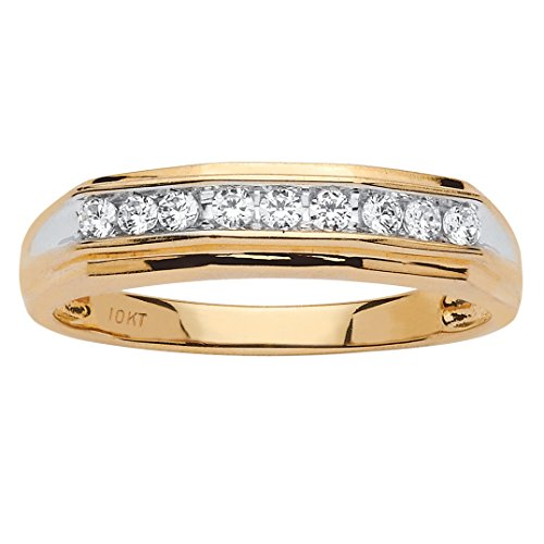 Men's 10K Gold Genuine Diamond Two Tone Wedding Ring (1/4 cttw, HI Color, I3 Clarity) 10k Mens Diamond Band