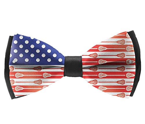 Casual And Formal Pre-Tied Bow Ties - USA Lacrosse Sticks Flag - Holiday Rave Party Tuxedo Creative Bow Ties, Adjustable Length Plain Bow Ties ()