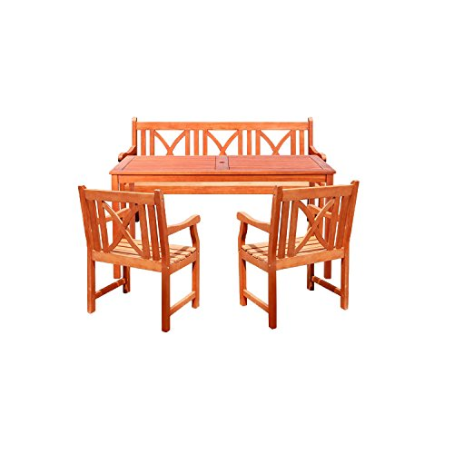 Vifah V98SET1 Outdoor Wood 4-Piece Dining Set, Natural Wood Finish, 59 by 31.5 by 29-Inch