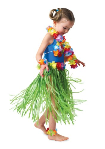 Luau Outfits For Adults (Child Hula Outfit Set Includes: Skirt, (Bikini Top, Wristlets/Anklets, Lei) Party Accessory  (1 count) (1/Pkg))
