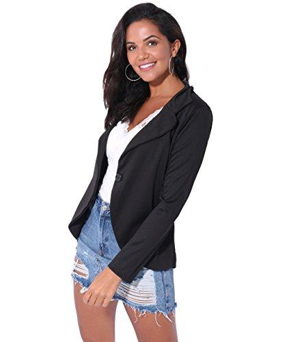 56cf46bbcf1 KRISP Womens Boyfriend Blazer One Button Tailored Jacket Party Evening