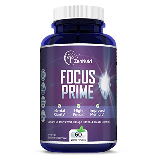 - Focus, Memory, Clarity & Mood Support Brain Booster Supplement - Concentration Enhancer - Natural Vegetarian Nootropic Formula - Ginkgo Biloba, Bacopa Monnieri, St. John Wort & More - 60 Count